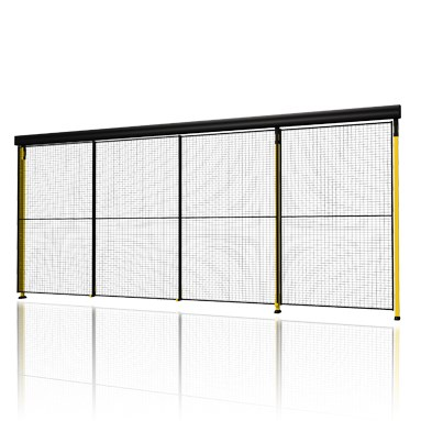 Triple sliding door with rail